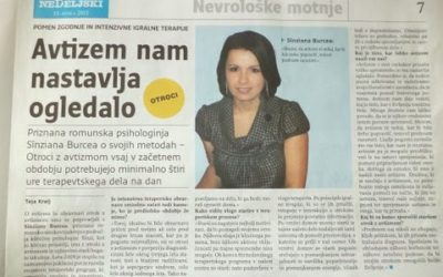 Autismul este oglinda vremurilor in care traim, Interviu cu jurnalista Teja Kralj , Nedeljski Dnevnik, Slovenia
